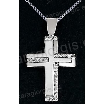 Βαπτιστικός σταυρός λευκόχρυσος για κορίτσι σε λουστρέ φινίρισμα σε 14 καράτια με πέτρες ζιργκόν.