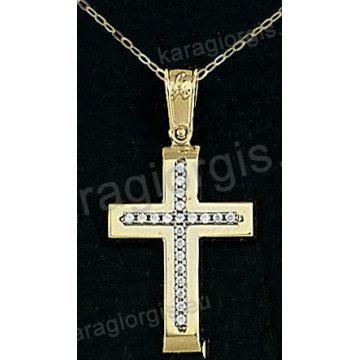 Βαπτιστικός σταυρός με αλυσίδα χρυσός για κορίτσι σε λουστρέ φινίρισμα με ένθετο σταυρό σε 14 καράτια με πέτρες ζιργκόν.