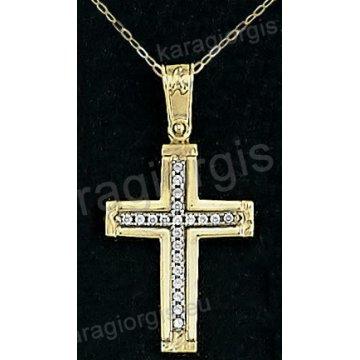 Βαπτιστικός σταυρός με αλυσίδα χρυσος για κορίτσι σε ματ φινίρισμα με ένθετο σταυρό σε 14 καράτια με πέτρες ζιργκόν.