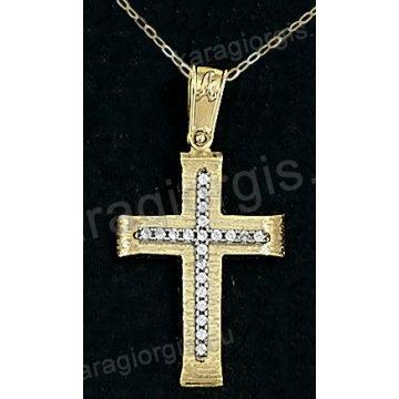 Βαπτιστικός σταυρός με αλυσίδα χρυσός για κορίτσι σε σαγρέ φινίρισμα με ένθετο σταυρό σε 14 καράτια με πέτρες ζιργκόν.