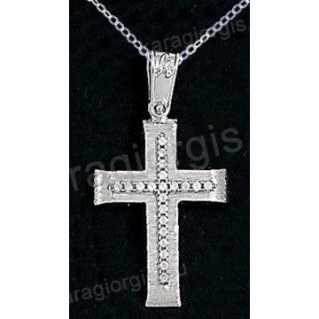 Βαπτιστικός σταυρός K14 με αλυσίδα λευκόχρυσος για κορίτσι σε σαγρέ φινίρισμα με ένθετο σταυρό με πέτρες ζιργκόν.