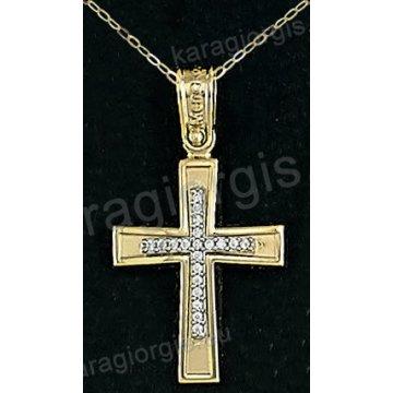Βαπτιστικός σταυρός με αλυσίδα χρυσός για κορίτσι σε ματ φινίρισμα με ένθετο σταυρό σε 14 καράτια με πέτρες ζιργκόν.