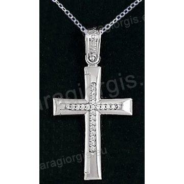 Βαπτιστικός σταυρός K14 με αλυσίδα λευκόχρυσος για κορίτσι σε ματ φινίρισμα με ένθετο σταυρό με πέτρες ζιργκόν.