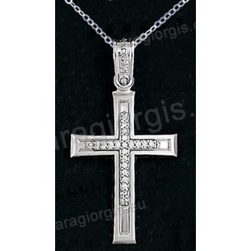 Βαπτιστικός σταυρός με αλυσίδα λευκόχρυσος για κορίτσι σε ματ φινίρισμα με ένθετο σταυρό σε 14 καράτια με πέτρες ζιργκόν.