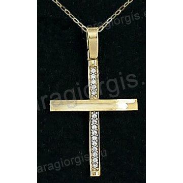 Βαπτιστικός σταυρός με αλυσίδα χρυσός για κορίτσι σε λουστρέ φινίρισμα σε 14 καράτια με πέτρες ζιργκόν.