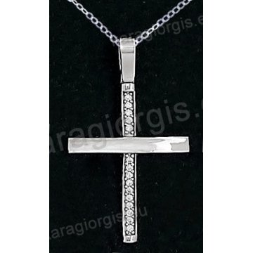 Βαπτιστικός σταυρός K14 με αλυσίδα λευκόχρυσος για κορίτσι σε λουστρέ φινίρισμα με πέτρες ζιργκόν.