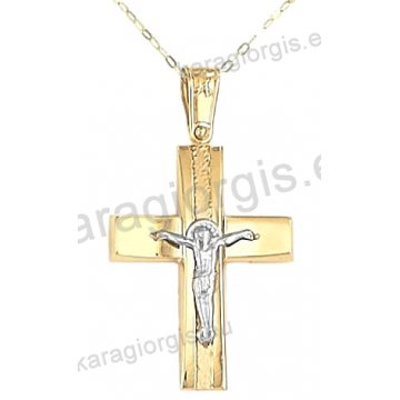 Βαπτιστικός σταυρός με αλυσίδα χρυσός για αγόρι σε λουστρέ φινίρισμα με ένθετο λευκόχρυσο εσταυρωμένο σε 14 καράτια.
