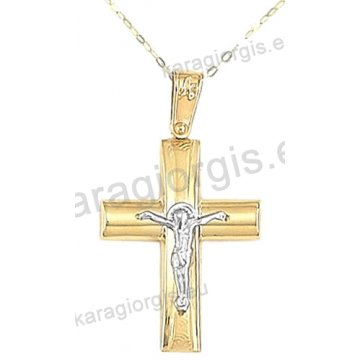 Βαπτιστικός σταυρός με αλυσίδα χρυσός για αγόρι σε λουστρέ ματ φινίρισμα με ένθετο λευκόχρυσο εσταυρωμένο σε 14 καράτια.