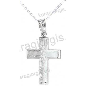 Βαπτιστικός σταυρός με αλυσίδα λευκόχρυσος για αγόρι σε λουστρέ και ματ φινίρισμα σε 14 καράτια.