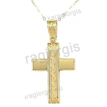 Βαπτιστικός σταυρός με αλυσίδα χρυσός για αγόρι σε λουστρέ και ματ φινίρισμα σε 14 καράτια.