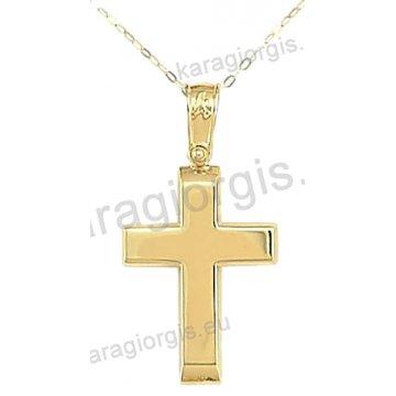 Βαπτιστικός σταυρός με αλυσίδα χρυσός κλασικός για αγόρι σε λουστρέ φινίρισμα σε 14 καράτια.
