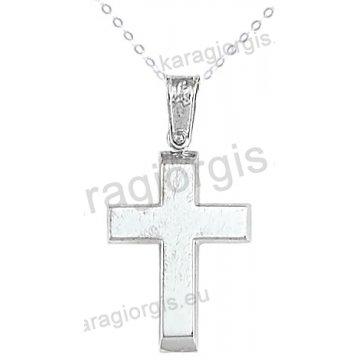 Βαπτιστικός σταυρός με αλυσίδα λευκόχρυσος κλασικός για αγόρι σε λουστρέ φινίρισμα σε 14 καράτια.