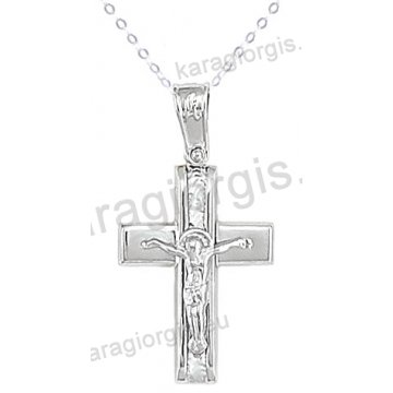 Βαπτιστικός σταυρός με αλυσίδα λευκόχρυσος για αγόρι σε λουστρέ ματ φινίρισμα με ένθετο εσταυρωμένο σε 14 καράτια.