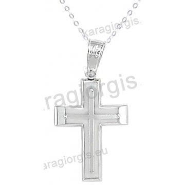 Βαπτιστικός σταυρός με αλυσίδα λευκόχρυσος για αγόρι σε λουστρέ φινίρισμα με ένθετο σταυρό σε 14 καράτια.
