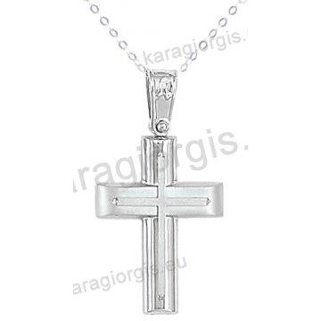Βαπτιστικός σταυρός με αλυσίδα λευκόχρυσος για αγόρι σε λουστρέ ματ φινίρισμα με ένθετο σταυρό σε 14 καράτια.