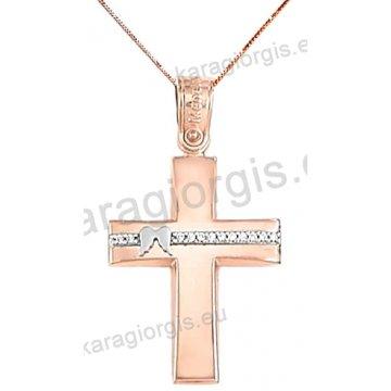 Βαπτιστικός σταυρός rose gold με αλυσίδα για κορίτσι σε λουστρέ φινίρισμα με ένθετα φτερά σε 14 καράτια με άσπρες πέτρες ζιργκόν.