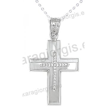 Βαπτιστικός σταυρός λευκόχρυσος με αλυσίδα για κορίτσι σε λουστρέ-ματ φινίρισμα με ένθετο σταυρό με πέτρες ζιργκόν σε 14 καράτια.