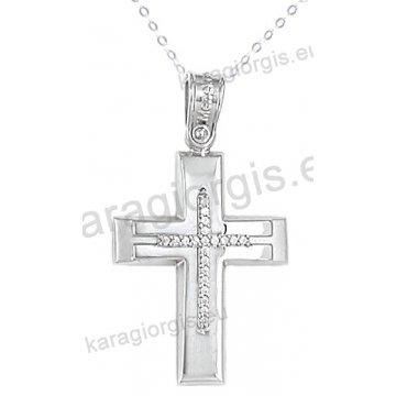 Βαπτιστικός σταυρός λευκόχρυσος με αλυσίδα για κορίτσι σε λουστρέ φινίρισμα με ένθετο σταυρό με πέτρες ζιργκόν σε 14 καράτια.