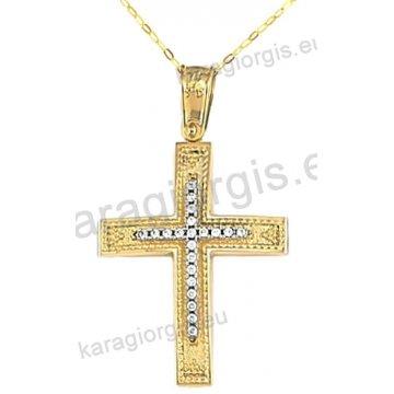 Βαπτιστικός σταυρός για κορίτσι χρυσός με ένθετο λευκόχρυσο σταυρό με αλυσίδα σε σαγρέ φινίρισμα με άσπρες πέτρες ζιργκόν 14 καράτια.