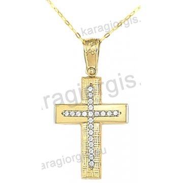 Βαπτιστικός σταυρός για κορίτσι χρυσός με ένθετο λευκόχρυσο σταυρό με αλυσίδα σε σαγρέ-λουστρέ φινίρισμα με άσπρες πέτρες ζιργκόν 14 καράτια.