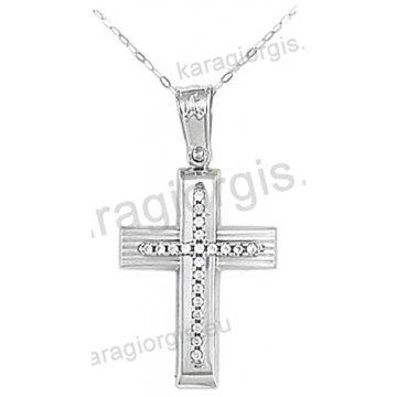 Βαπτιστικός σταυρός K14 για κορίτσι λευκόχρυσος με ένθετο σταυρό με αλυσίδα σε λουστρέ-ματ φινίρισμα με άσπρες πέτρες ζιργκόν.