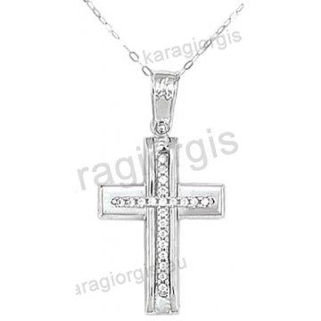 Βαπτιστικός σταυρός K14 για κορίτσι λευκόχρυσος με ένθετο σταυρό με αλυσίδα σε λουστρέ φινίρισμα με άσπρες πέτρες ζιργκόν.