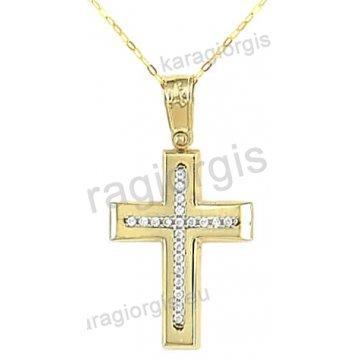 Βαπτιστικός σταυρός για κορίτσι χρυσός με ένθετο λευκόχρυσο σταυρό με αλυσίδα σε λουστρέ φινίρισμα με άσπρες πέτρες ζιργκόν 14 καράτια.