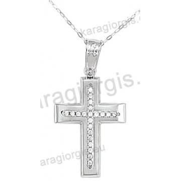 Βαπτιστικός σταυρός για κορίτσι λευκόχρυσος με ένθετο σταυρό με αλυσίδα σε λουστρέ φινίρισμα με άσπρες πέτρες ζιργκόν 14 καράτια.