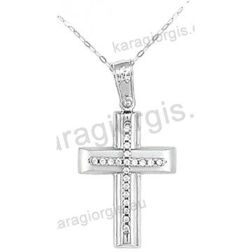 Βαπτιστικός σταυρός για κορίτσι λευκόχρυσος με ένθετο σταυρό με αλυσίδα σε λουστρέ-ματ φινίρισμα με άσπρες πέτρες ζιργκόν 14 καράτια.