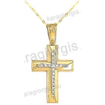 Βαπτιστικός σταυρός για κορίτσι χρυσός με ένθετο λευκόχρυσο σταυρό με αλυσίδα σε λουστρέ-ματ φινίρισμα με άσπρες πέτρες ζιργκόν 14 καράτια.