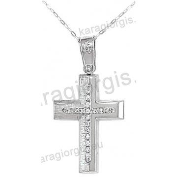 Βαπτιστικός σταυρός K14 για κορίτσι λευκόχρυσος με ένθετο σταυρό με αλυσίδα σε σαγρέ-λουστρέ φινίρισμα με άσπρες πέτρες ζιργκόν.