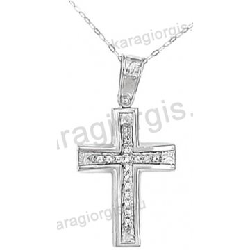 Βαπτιστικός σταυρός για κορίτσι λευκόχρυσος με ένθετο σταυρό με αλυσίδα σε σαγρέ-λουστρέ φινίρισμα με άσπρες πέτρες ζιργκόν 14 καράτια.