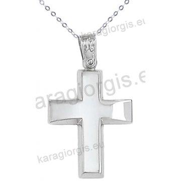Λευκόχρυσος βαπτιστικός σταυρός για αγόρι με αλυσίδα κλασικός σε λουστρέ φινίρισμα 14 καράτια.