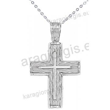 Λευκόχρυσος βαπτιστικός σταυρός για αγόρι με αλυσίδα με ένθετο σταυρό σε σαγρέ φινίρισμα 14 καράτια.