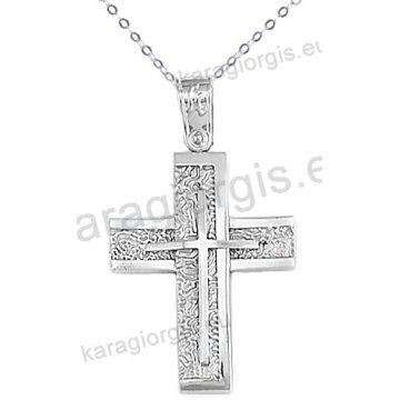 Λευκόχρυσος βαπτιστικός σταυρός για αγόρι με αλυσίδα με ένθετο σταυρό σε σαγρέ-λουστρέ φινίρισμα 14 καράτια.
