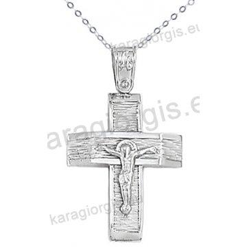 Λευκόχρυσος βαπτιστικός σταυρός για αγόρι με αλυσίδα με ένθετο εσταυρωμένο σε σαγρέ φινίρισμα 14 καράτια.