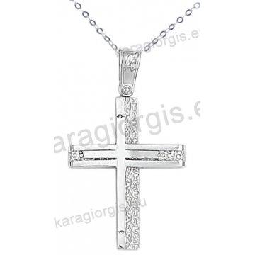 Λευκόχρυσος βαπτιστικός σταυρός για αγόρι με αλυσίδα σε σαγρέ-λουστρέ φινίρισμα 14 καράτια.