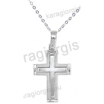 Λευκόχρυσος σταυρός για αγόρι με αλυσίδα σε λουστρέ-ματ φινίρισμα 14 καράτια.