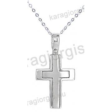 Λευκόχρυσος σταυρός για αγόρι με αλυσίδα σε λουστρέ φινίρισμα 14 καράτια.
