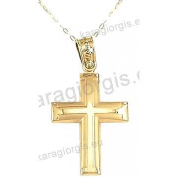 Χρυσός βαπτιστικός σταυρός για αγόρι με αλυσίδα σε λουστρέ-ματ φινίρισμα σε 14 καράτια.