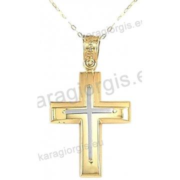 Χρυσός βαπτιστικός σταυρός για αγόρι με αλυσίδα σε λουστρέ-ματ φινίρισμα με ένθετο λευκόχρυσο σταυρό σε 14 καράτια.