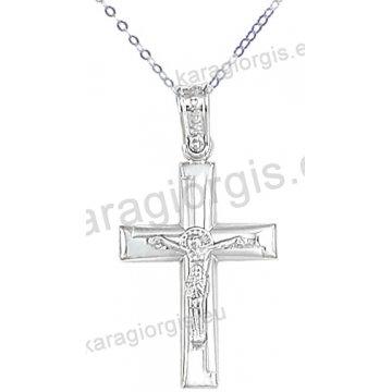 Λευκόχρυσος βαπτιστικός σταυρός για αγόρι με αλυσίδα σε λουστρέ-ματ φινίρισμα με ένθετο λευκόχρυσο εσταυρωμένο 14 καράτια.