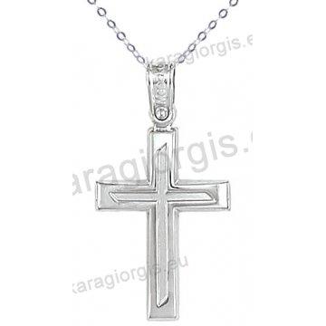 Λευκόχρυσος βαπτιστικός σταυρός για αγόρι με αλυσίδα σε λουστρέ-ματ φινίρισμα σε 14 καράτια.