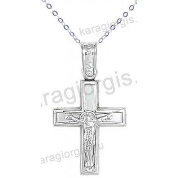 Λευκόχρυσος βαπτιστικός σταυρός K14 για αγόρι με αλυσίδα σε λουστρέ-ματ φινίρισμα με ένθετο λευκόχρυσο εσταυρωμένο.