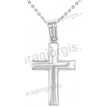 Λευκόχρυσος βαπτιστικός σταυρός K14 για αγόρι με αλυσίδα σε λουστρέ-ματ φινίρισμα.