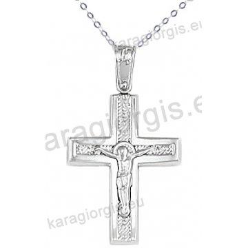 Λευκόχρυσος βαπτιστικός σταυρός K14 για αγόρι με αλυσίδα με ένθετο εσταυρωμένο σε σαγρέ-λουστρέ φινίρισμα.