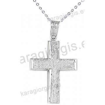 Λευκόχρυσος βαπτιστικός σταυρός K14 για αγόρι με αλυσίδα με λουστρέ-σαγρέ φινίρισμα.