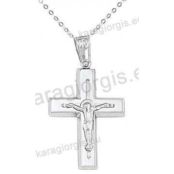 Λευκόχρυσος βαπτιστικός σταυρός K14 για αγόρι με αλυσίδα με ένθετο εσταυρωμένο σε λουστρέ φινίρισμα.