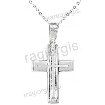 Λευκόχρυσος βαπτιστικός σταυρός K14 για αγόρι με αλυσίδα με ένθετο σταυρό σε λουστρέ-σαγρέ φινίρισμα.