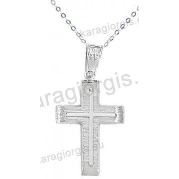 Λευκόχρυσος βαπτιστικός σταυρός K14 για αγόρι με αλυσίδα με ένθετο σταυρό σε σαγρέ φινίρισμα.